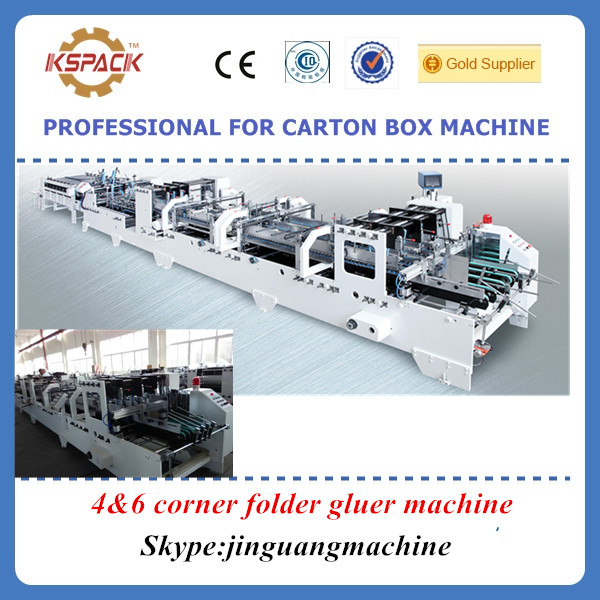 automatic 4 &6 corner carton box folder gluer machine / 4 &6 corner pasting machine