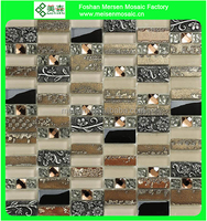 Glass mix ceramic mosaic tile for bathroom wall