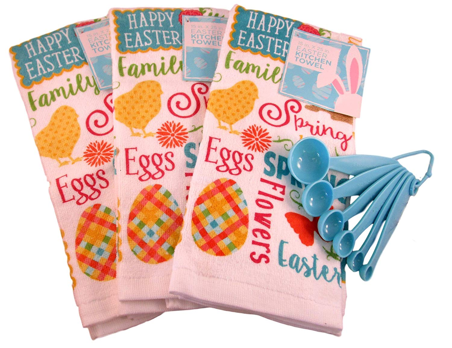 "100% Cotton Easter Springtime Kitchen Towels Bundle of 4 Items: 3 15"" X 25"" Towels and set of Measuring Spoons (Happy Easter Print and Images)"