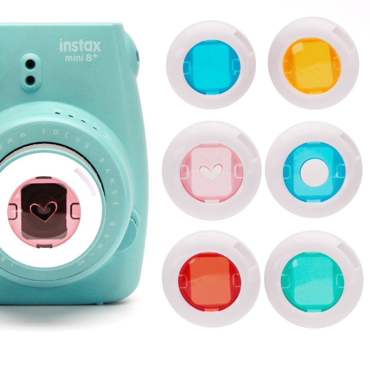 Colored Filter Close-Up Lens for Fujifilm Instax mini 9 Instax Mini 7S , Instax Mini 8 Cameras, Poloroid PIC 300, Instax hellokitty camera (Red /Blue Circle /Yellow /Green /Pink Heart) - 6 Pack