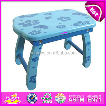 Blue Wooden Small Baby Chair,Small Stool,wood Kids Chair Toy For Kids,