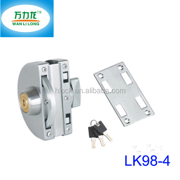 Stainless Steel Sliding Door Key Locks for Tempered Glass Door Lock Types Laser Key LK98-4