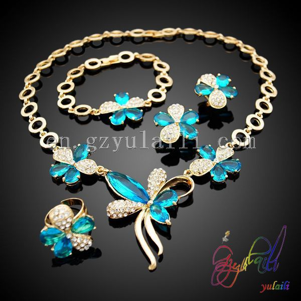 light blue sky crystal jewelry sets afrian gold plated jewelry sets white CZ jewelry sets
