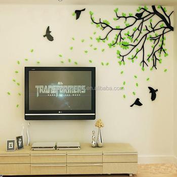 Crystal Acrylic Padat Musim Semi Pohon Stiker Dinding Ruang Tamu Tv Latar Belakang