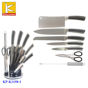 Eco-Friendly Feature 8pcs net vein handle knives kitchen knife acrylic block set