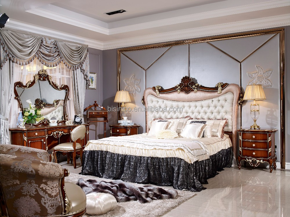 Italian Wood Bedroom Furniture Set, Luxury Royal Bed Room Furniture ...