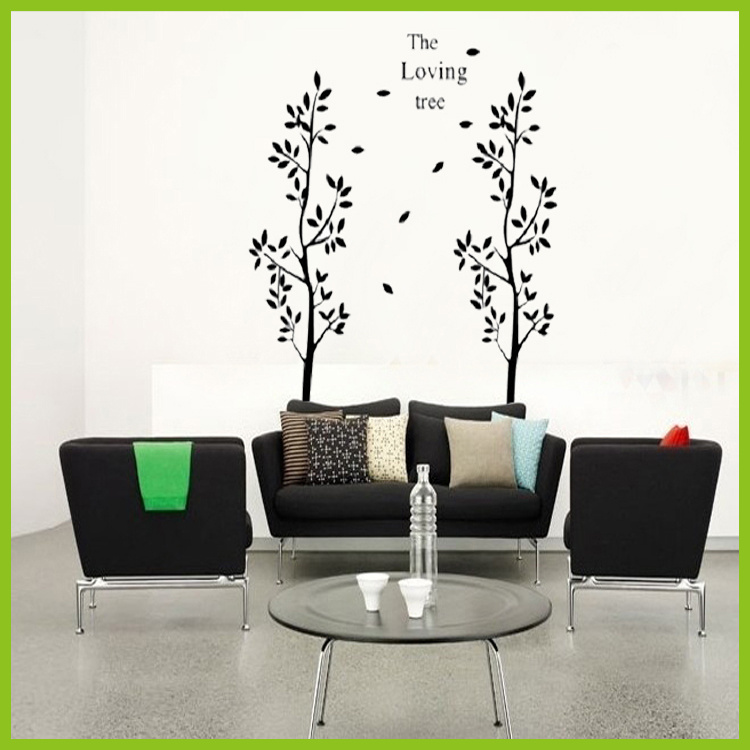 2013New Design Hot Selling/The Black Loving Two Tree/Vinyl Wall Decals :80