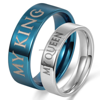 Tungsten Jewelry Factory Direct 6-8mm My King and Queen Engraved Tungsten Ring Couples