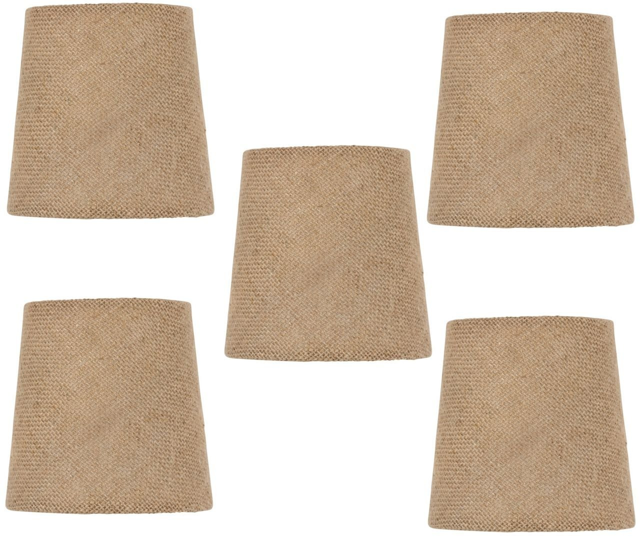 Mini Chandelier Shades Clip On Small Lamp shades set of Five Burlap fabric