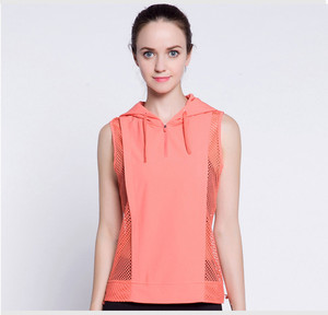 Women's Sports Wear Active Wear Salmon Red Sleeveless Hoodie Sweatshirt Blouse Vest Mesh Panelled Seethrough Sides Vest