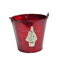 CW1288 Christmas decorative galvanized handle metal flower pot with Christmas tree