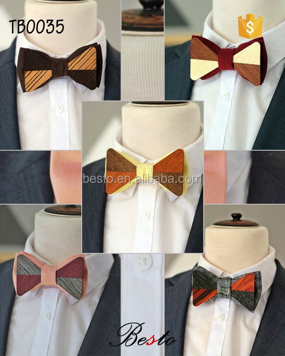 High quality custom wholesale men wood bow tie for suits