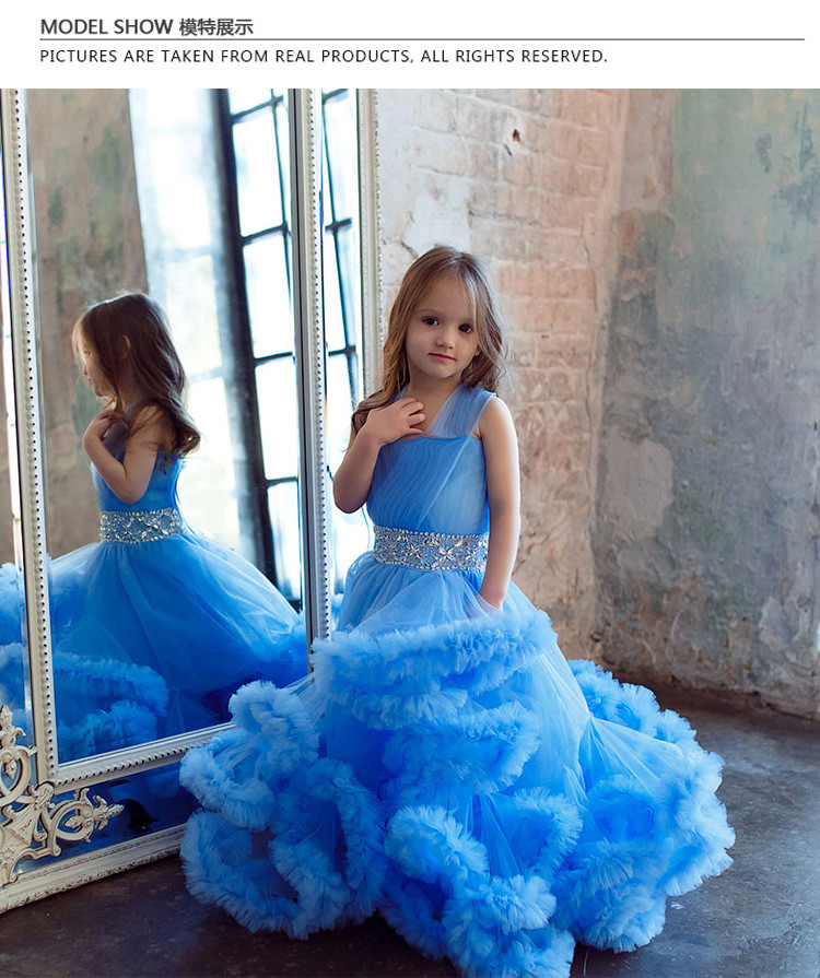 Cloud little flower girls dresses for weddings Baby Party frocks sexy children images Dress kids prom dresses evening gowns 2016 4