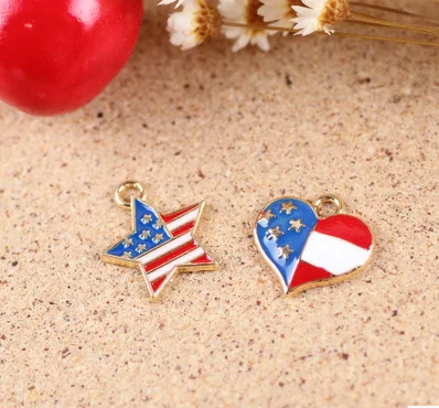 metal American flag star heart charms customized star heart charms for bracelet accessories