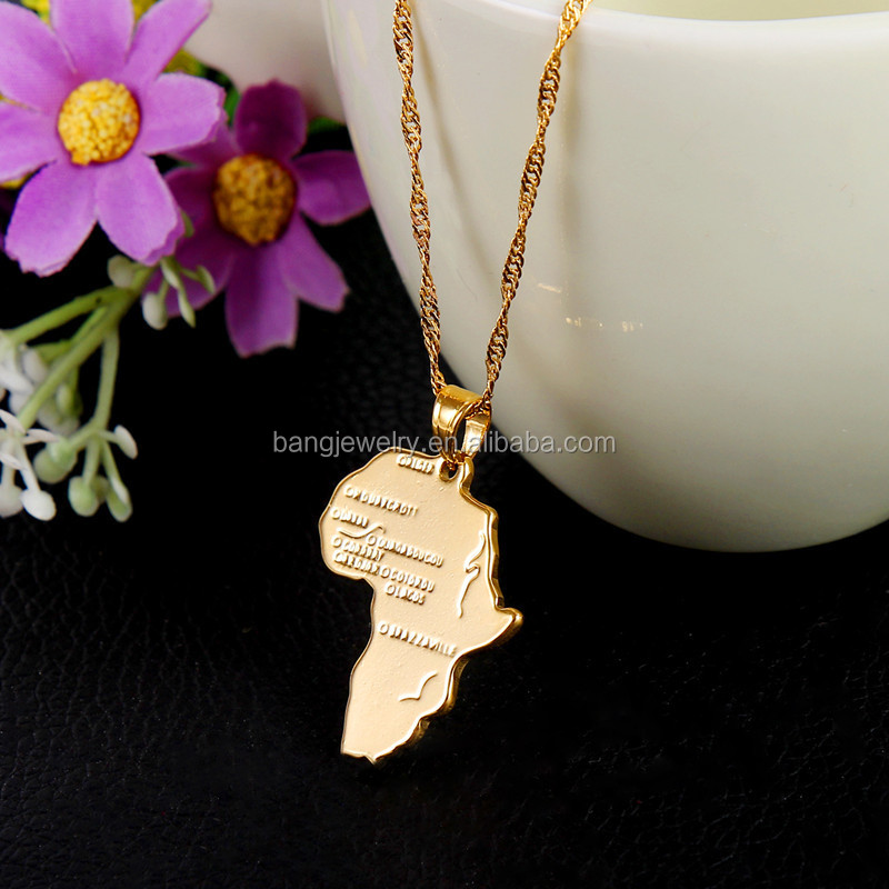 Ethiopian Africa Map Jewelry Sets 18k Gold Plated Jewelry Sets