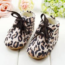 Newborn Fashion Leopard Baby Shoes Soft Sole Infant Walking Shoes Lace Up Shoes Free Drop Shipping
