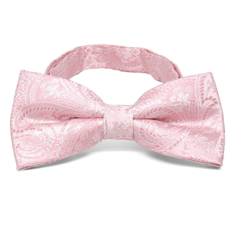 TieMart Pale Pink Clara Paisley Band Collar Bow Tie