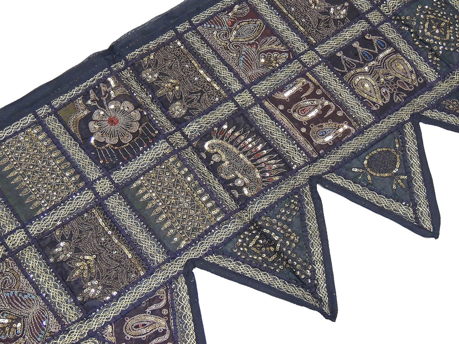 Black with Gold Embroidered, Beaded and Sequin Work Window Valance Covering - Decorative Patchwork Pattern ~ 60 Inch x 20 Inch