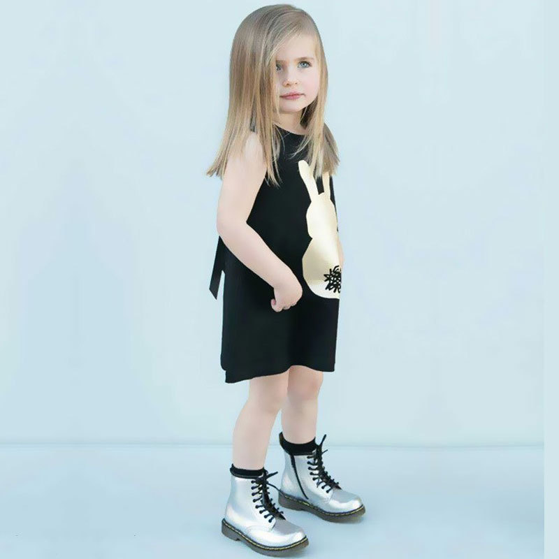 2017 Small gold rabbit children's vest cotton summer foreign trade baby sleeveless T-shirt girl vest skirt printed rabbit lace