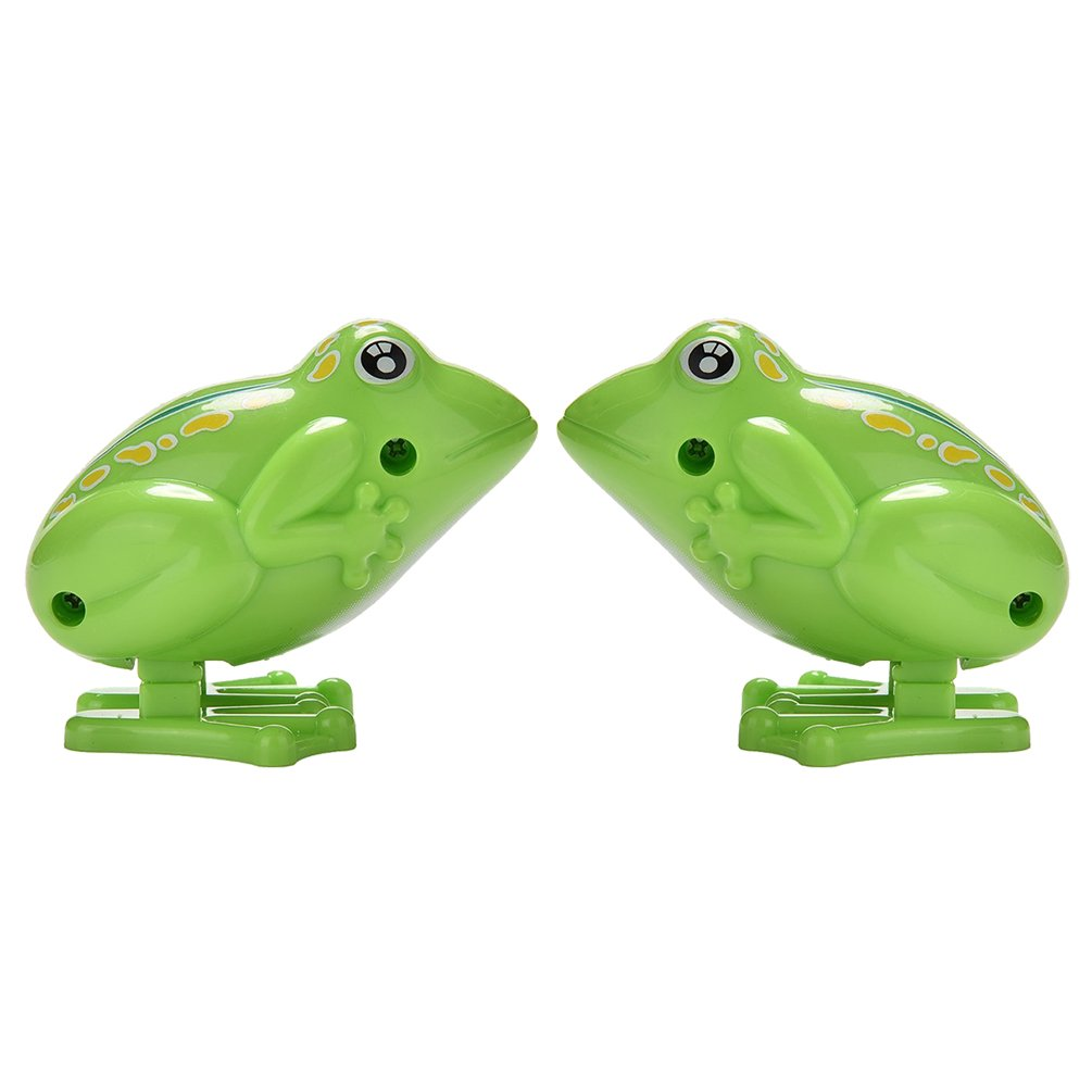2 Pcs Green Wind up Flipping Frog Plastic Jumping Froggy Animal Fun-Filled Classic Educational Wind-Up Clockwork Spring Toys Kids Gift,Party Favors by Jiabetterniu