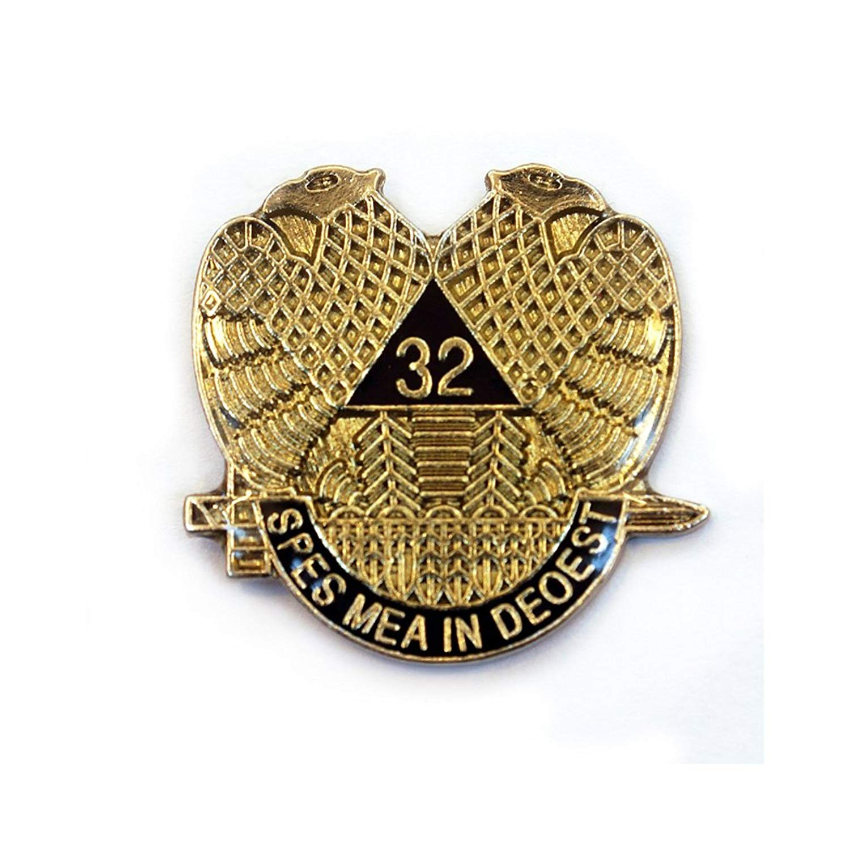 657845b96b23 Get Quotations · The Masonic Exchange Masonic 32nd Degree Double Headed  Eagle Scottish Rite Black & Gold Lapel Pin