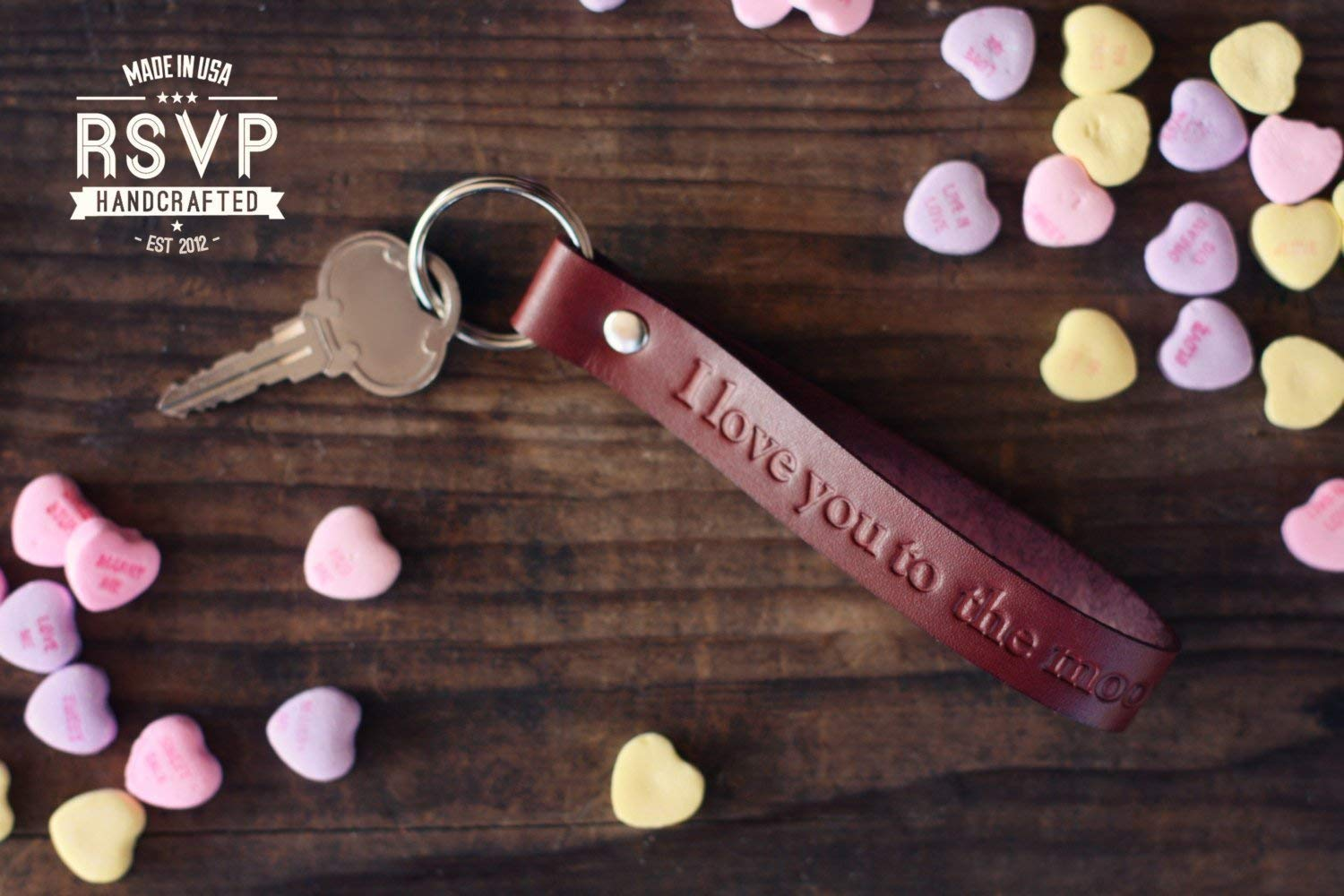 Leather Personalized Key chain, Custom Leather Key ring, Custom text, heart, arrow, infinity, tribal stamps, I Love You To The Moon And Back Key chain