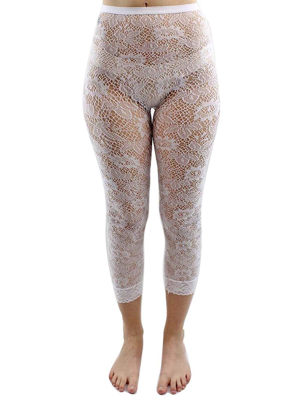 2703ff0bdcf Get Quotations · Luxury Divas White Floral Lace Capri Length Stretchy Tights