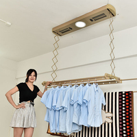 Motorized control Ceiling Mounted Intelligent Electric Clothes Drying Rack Hanger with LED lights