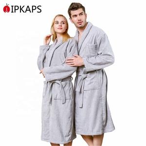 a09a336dbc Plain High Quality 100% Cotton Hotel Bathrobe Towel Cloth Beach Gown Belt  Family Terry Robe