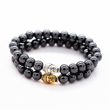 Weight Loss Health Care Black Magnetic Bracelet Beads Stone Therapy Magnet Hematite Buddha head Beads Bracelet