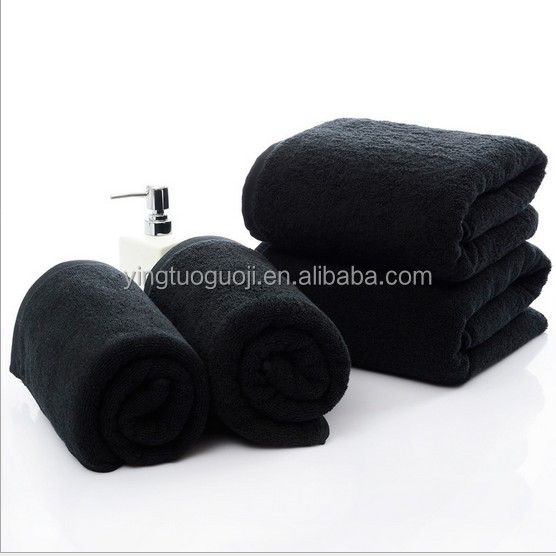 Manufacturers selling black cotton bath towel never rub off big towel used in hotel, hotels, bath, beauty salon