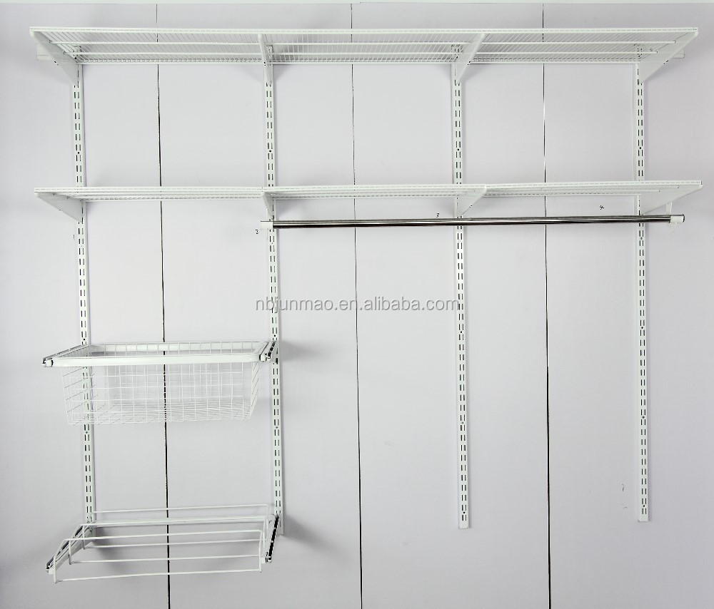 Planken Voor Kledingkast.Basic Beugel Planken Muurbevestiging Closet Systeem Hardware2