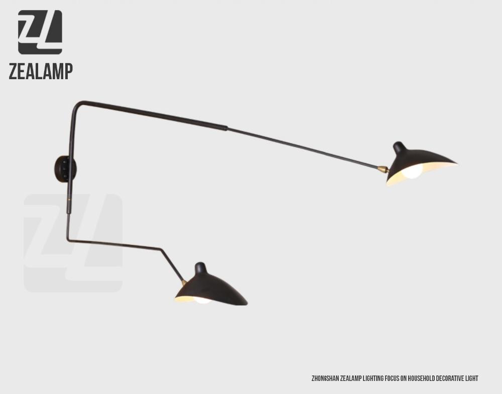 moderne aluminium langen hals wandleuchte serge mouille. Black Bedroom Furniture Sets. Home Design Ideas