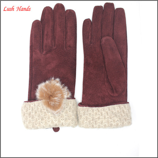 High quality pig suede leather fashion gloves with a fuzzy ball