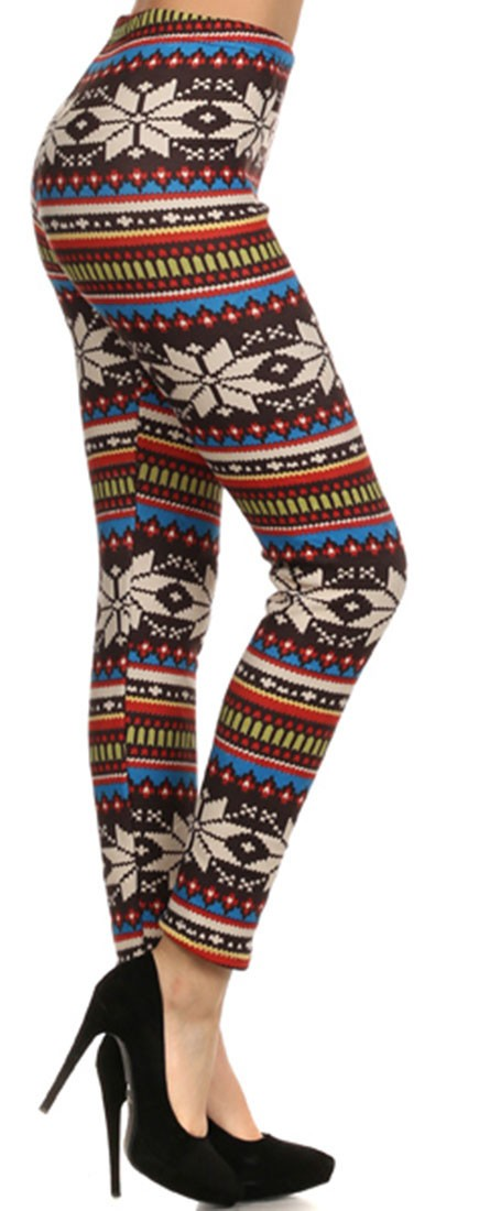 Multicolor Snowflake Graphic Sublimation Print Spandex Fleece Fabric Lined Leggings