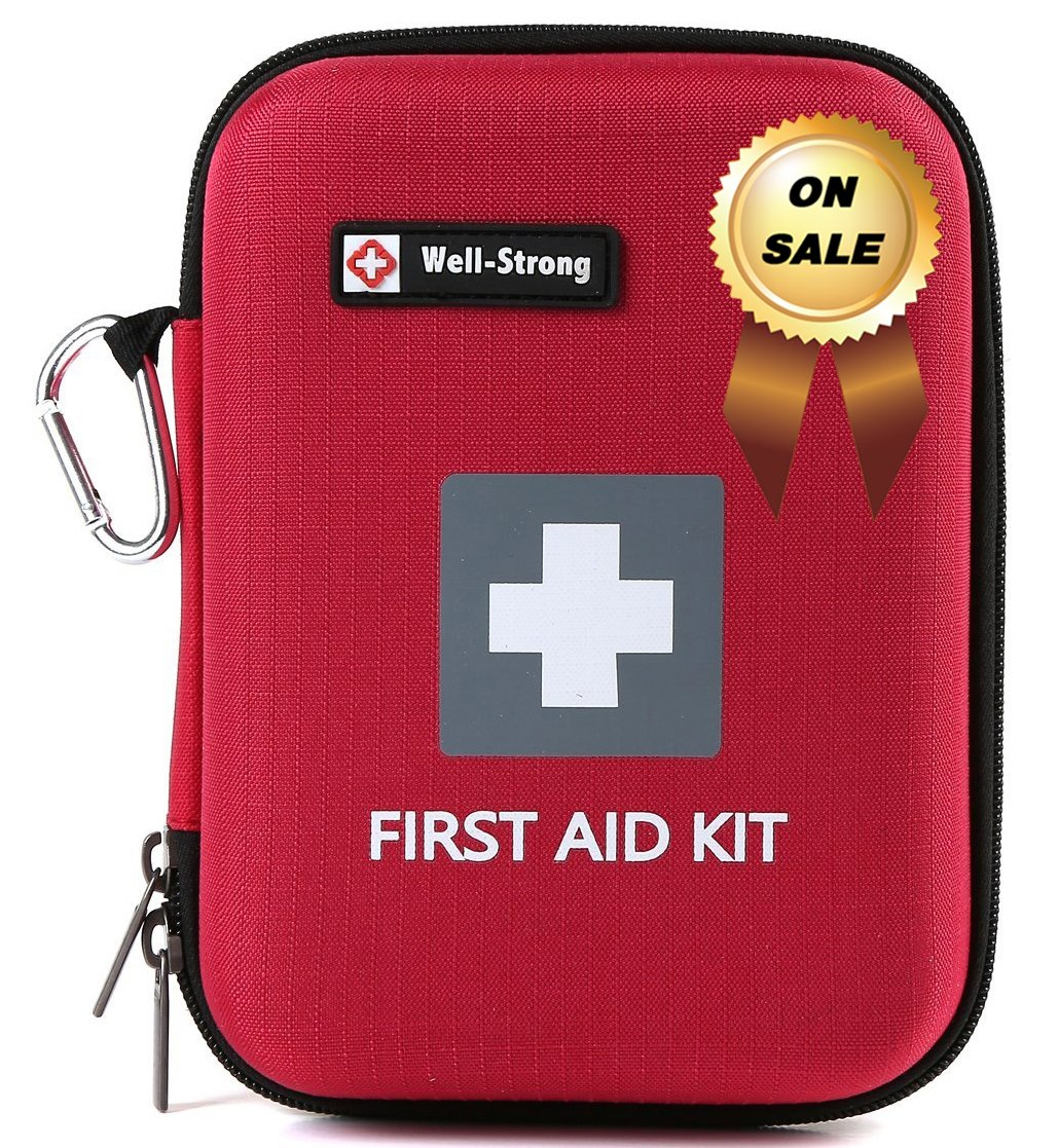 WELL-STRONG First Aid Kit 128 Pieces - Compact and Lightweight First Aid Bag - Essential for Home, Car, School, Office, Sports, Travel, Camping, Hiking or Any Other Outdoors Activities