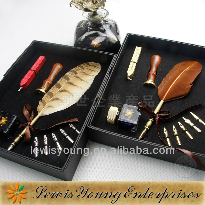 Popular promotional business gift, natural feather quill pen stationery kits