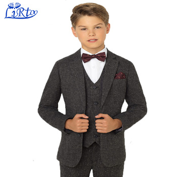 2017 Latest Boys Tweed Wedding Dress Suit Design Pant Coat For Children