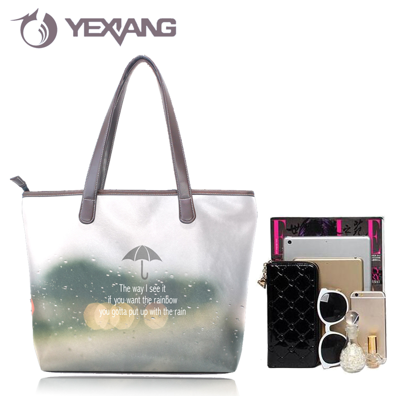 Women Fashion High Quality PU Tote Bag Custom Printed Shoulder Bag