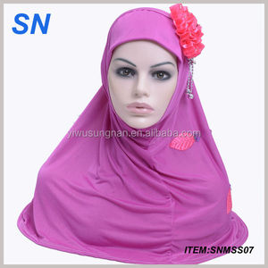 latest summer fashion thin hijab scarf with flower