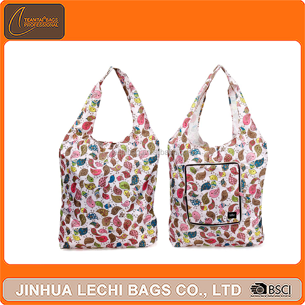 Eco Friendly Reusable large Shopping Bag Recycle Foldable <strong>Nylon</strong> with pouch