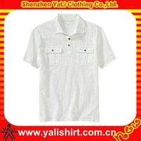 Top quality mens cheap white polo shirt 100% cotton double pocket casual shirts