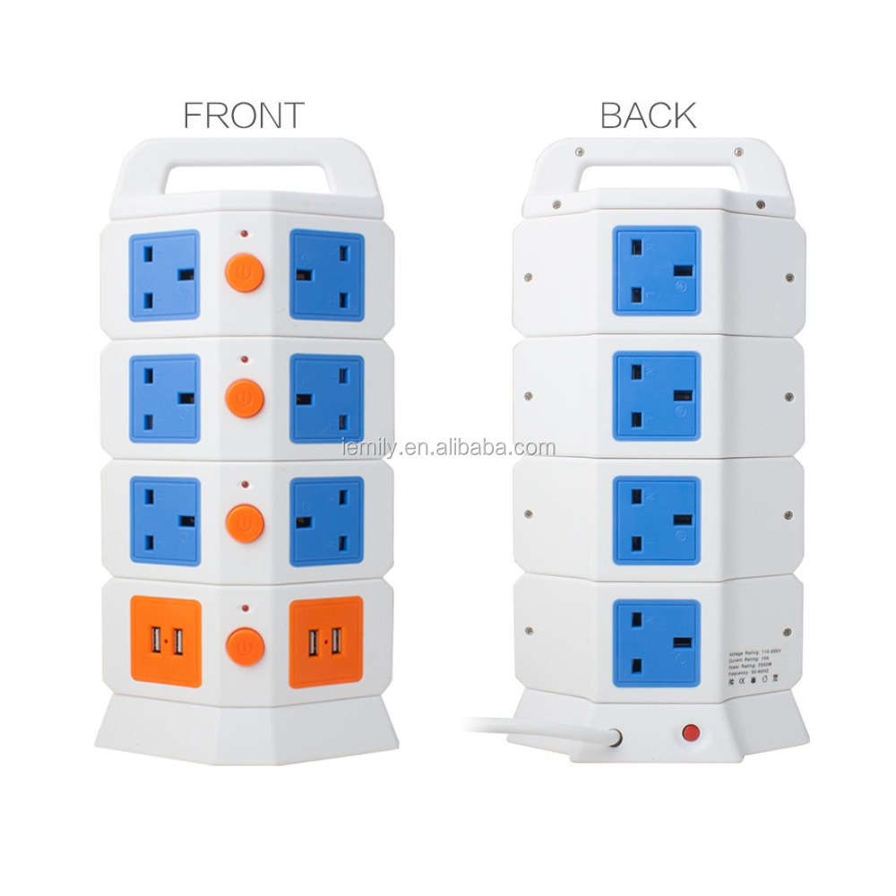 110V/250V Universal Vertical USB Electrical power outlet multi Flexible tower Socket
