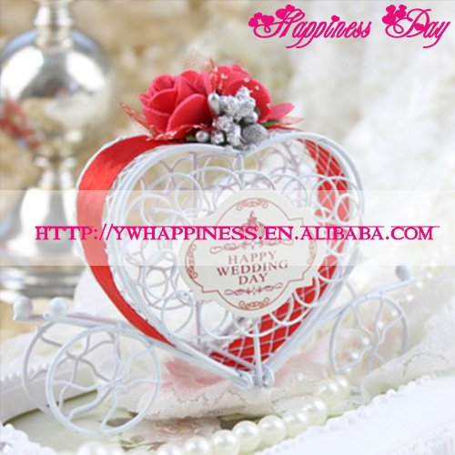 Metal Heart Carriage Candy Boxes With Red Flower Ribbon Baby Favors