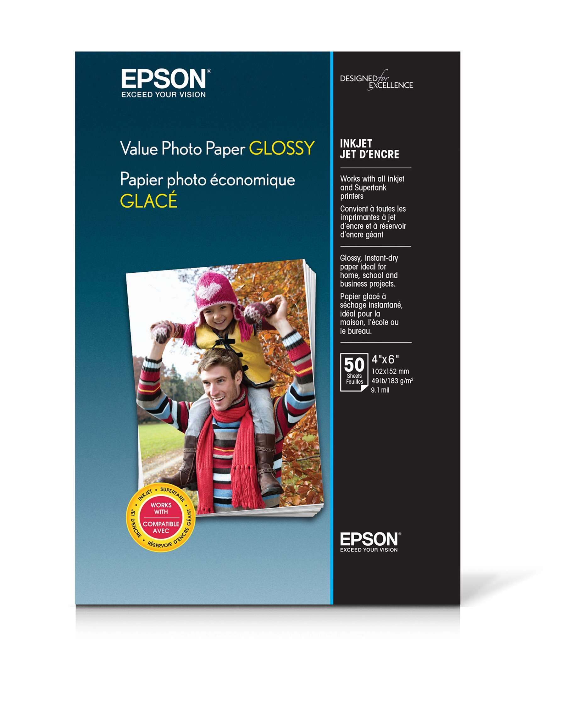 """Epson Value Photo Paper Glossy, 4""""x6"""", 50 Sheets (S400033)"""