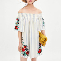 Best Sale Off Shoulder Mini Embroidered Mexican Summer Dress