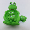 cheap logo printed floating baby bath rubber frog toy set for promotion
