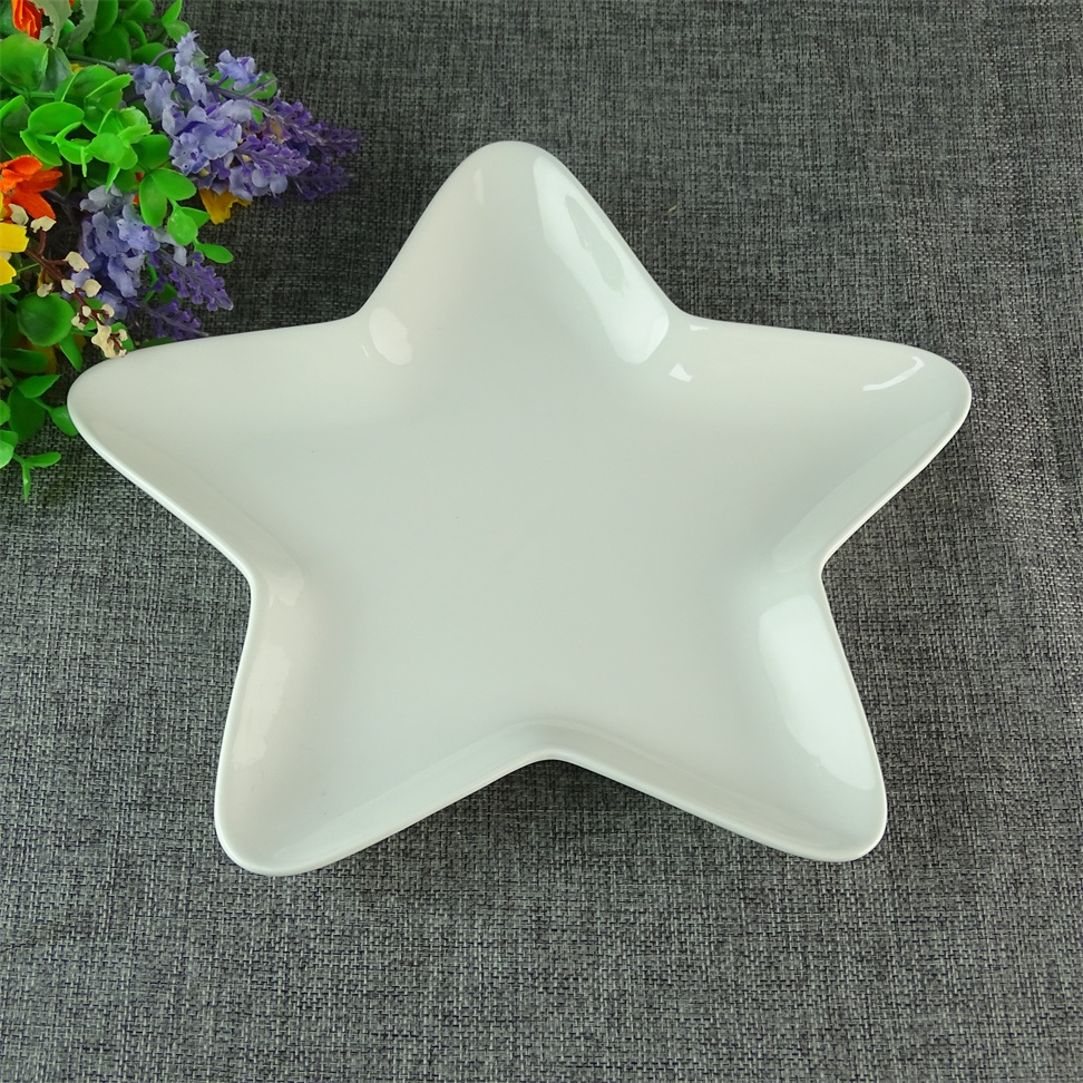 Decoration Five Pointed Star Shaped Ceramic Porcelain Plate Dishes Wholesale