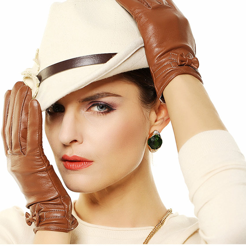Women Leather Gloves With Thin Velvet Wrist Bowknot Sheepskin Leather Gloves Outdoor Female Genuine Leather Gloves L101pq