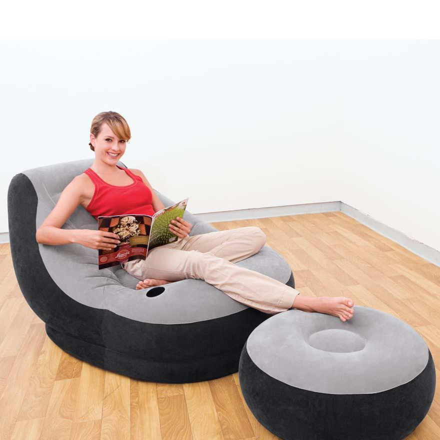 Flocked Single Leisure Chair Filled Furniture Inflatable Air <strong>Sofa</strong>